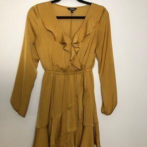 Mustard Yellow Satin Ruffle Faux Wrap Dress